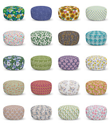 Ambesonne Botanical Design Ottoman Pouf Decor Soft Foot Rest And Removable Cover