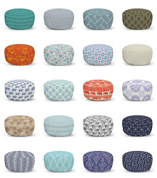 Ambesonne Oriental Form Ottoman Pouf Decor Soft Foot Rest And Removable Cover