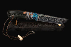 Authorand039s Expensive Premium Mosaic Damascus Steel Knife Tiger Eyes