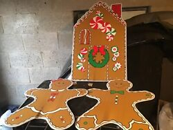 Yard Sign Outdoor Lawn Decorations Gingerbread Man People House Christmas