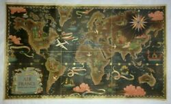 World Map Air France Lucien Boucher 1948 Antique Pictorial Lithography On Linen