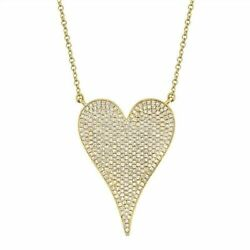 14k Yellow Gold Pointy Heart Pendant 0.82ct Real Diamond For Black Friday Gif