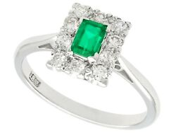 Vintage 0.28 Ct Emerald And 0.30 Ct Diamond 18k White Gold Dress Ring Size 5.5