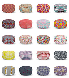 Ambesonne Geometric Shape Ottoman Pouf Decor Soft Foot Rest And Removable Cover