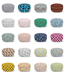 Ambesonne Butterfly Ottoman Pouf Decor Soft Foot Rest And Removable Cover