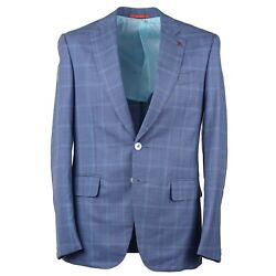 Isaia Modern-fit 'gregorio' Sky Blue Check Super 180s Wool Suit 36r Eu 46