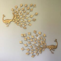 Pair2 Mid Century Peacock Wall Hangings. Gold Metal. Light Weight