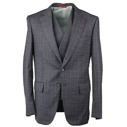 Isaia Slim-fit 'gregorio' 3-piece Gray Check Soft Brushed Wool Suit 46r Eu 56