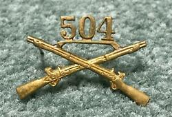 Original Wwii Theater Made 504th Pir 82nd Airborne Officers Numbered Rifle Pin