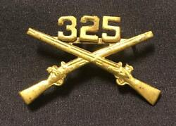 Original Wwii 325th Gir 82nd Airborne Officers Numbered Rifle Brass Collar Pin
