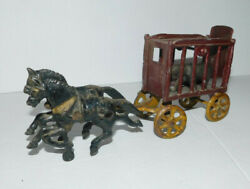 Neat Vintage Hubley Cast Iron Horse Drawn Circus Wagon With Bear