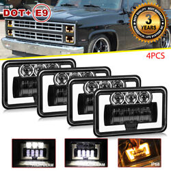 Dot 180w 4x6 Led Headlights Amber Drl For Ford Chevrolet C4500 C5500 Kenworth