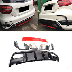 Rear Bumper Diffuser Exhaust Tail Tips For Benz A Class A200 A250 A45amg 16-18