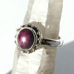 Beautiful Natural Star Ruby Gemstone Ring - Sterling Silver Size 8.5