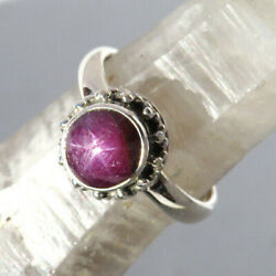 Beautiful Natural Star Ruby Gemstone Ring - Sterling Silver Size 8