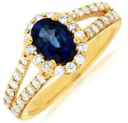 1.65ct Diamond And Aaa Sapphire 14kt Yellow Gold 3d Oval And Round Engagement Ring