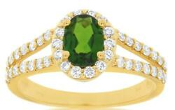 1.60ct Diamond And Aaa Green Garnet 14kt Yellow Gold Oval And Round Engagement Ring