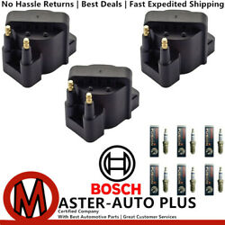 Engine Ignition Coil Set And Bosch Platinum Ir Fusion Spark Plug For Buick Allure