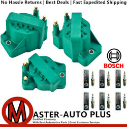 Direct Ignition Coil Set And Bosch Platinum Ir Fusion Spark Plug For Buick Allure