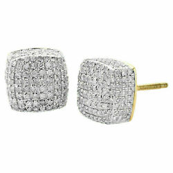 2ct Real Diamond Cube Studs Square Earrings 14k Yellow Gold For Christmas Gift