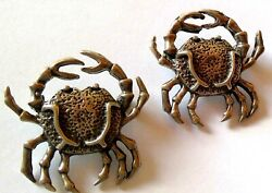 Vintage Pair Of Taxco Mexico Sterling Silver Crab Brooches Nice Detail