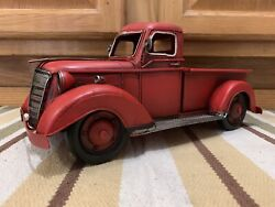 Red Ford Chevy Toy Pickup Truck Shop Coke Gas Oil Vintage Style Decor Pump Can
