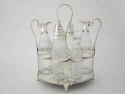 Antique George Iii Sterling Silver Cruet Stand And Bottles - 1795 By R And D Hennell