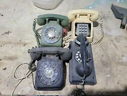 Four 4 Vintage Phones, 3 Desk Type And One Wall Mounted