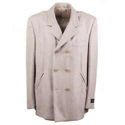 Belvest Soft-woven Herringbone Cashmere Peacoat Xl Eu 56 Outer Coat