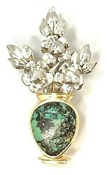 Rare Mid Century Madeleine Turner 18k Yellow Gold Platinum Diamond Turquoise Pin