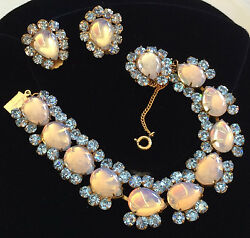 Rare Vintage Miriam Haskell Bracelet And Earrings Setqueen Blue Collection