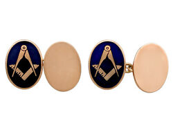 Vintage 9k Rose Gold And Enamel Freemasons' 'square And Compass' Cufflinks