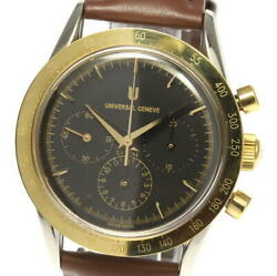 Universal Geneve 284.445 Chronograph Black Dial Hand Winding Menand039s Watch_534933