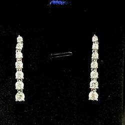 2ct Natural Diamond Incredible Drop Earrings 18k White Gold For Christmas Gift