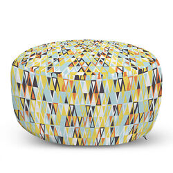 Ambesonne Retro Ottoman Pouf Decor Soft Foot Rest And Removable Cover