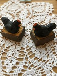Falcon Dollhouse Miniature Laying Hens On Boxes Lot Of Two New