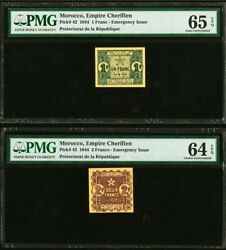 Morocco Empire Cherifien 1 And 2 Francs Pmg Uncirculated 65 And 64 Epq Total 2 Notes