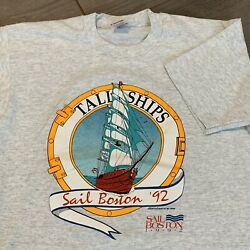 Sail Boston Vintage T Shirt Mens Large Adult Gray 90s Tall Ships Massachusetts