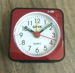QMX Small Clock Red Portable Desk Travel Alarm Easy Reader New amp; Free Shipping