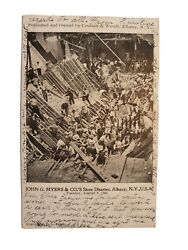 1906 Postcard John G. Myers And Co.'s Store Disaster, Albany Ny W/ Troy Postmark