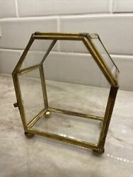 Rare Vintage Coffin Shaped Brass Curio Glass Pentagon Small 5 Display Cabinet
