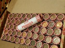 1 Box Of 50 Rolls 95 Copper Pennies 1982 And Older. Lincoln Memorial Cents ++