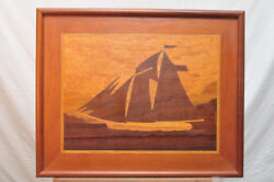 Sailing On The Hudson Marquetry Inlaid Wood Art Eric Erstling Signed