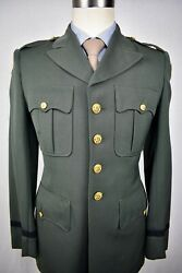 1950's Us Army Solid Dark Green Wool Two Piece Officer Dress Uniform Size 36r