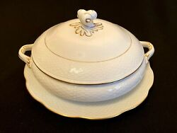 Herend Porcelain Gold Platted Lid Bowl And Serving Tray 2pcs. Hde