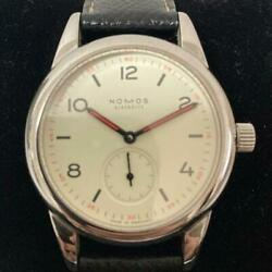 Nomos Club Cl1a1w1 Menand039s Watch 36mm Manual Winding Classical Rare White Dial