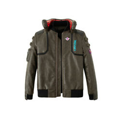 Cyberpunk 2077 Adult Jacket Mens Coplay Coat Pu Leather Cos Outwear Game Around