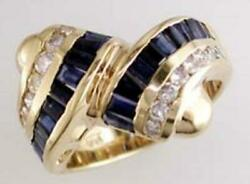 Wide 1.14ct Diamond And Aaa Sapphire 14kt Yellow Gold 3d Baguette And Round Fun Ring