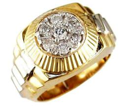 Estate .70ct Diamond 14kt White And Yellow Gold Classic Cluster Jubilee Mens Ring
