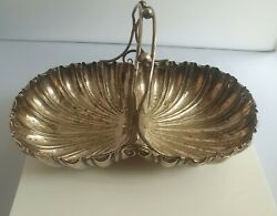 Antique Silver Plated Shell Double Serving Dish With Handle Dated 1604 By Dixon